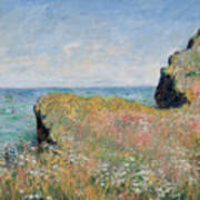 Edge Of The Cliff Pourville Print by Claude Monet