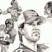 Eli Manning Print by Kathleen Kelly Thompson