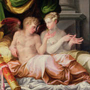 Eros And Psyche Print by Niccolo dell Abate