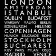 Europe Cities Bus Roll Print by Michael Tompsett