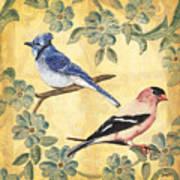 Exotic Bird Floral And Vine 1 Print by Debbie DeWitt