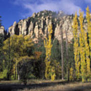 Fall Colors And Red Rocks Near Cave Print by Rich Reid