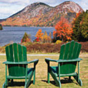 Fall Scenic With  Adirondack Chairs At Jordan Pond Print by George Oze