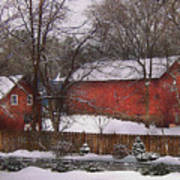 Farm - Barn - Winter In The Country  Print by Mike Savad