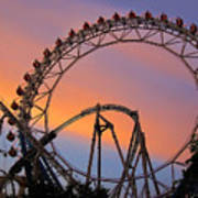 Ferris Wheel Sunset Print by Eena Bo