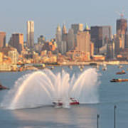 Fire Boat And Manhattan Skyline Iv Print by Clarence Holmes