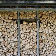 Firewood Stack Print by Frank Tschakert