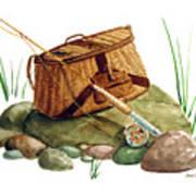 Fishing Creel Bamboo Fly Rod Print by Sean Seal