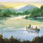 Fishing With Grandpa Print by Sean Seal