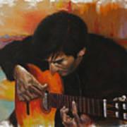 Flamenco Guitar Player Print by Harvie Brown