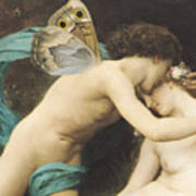 Flora And Zephyr Print by William Adolphe Bouguereau