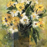 Flowers In White And Yellow Print by Nira Schwartz
