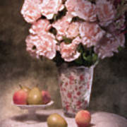 Flowers With Fruit Still Life Print by Tom Mc Nemar