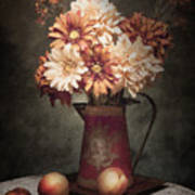 Flowers With Peaches Still Life Print by Tom Mc Nemar