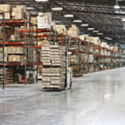 Forklift Moving Product In A Warehouse Print by Jetta Productions, Inc
