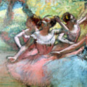 Four Ballerinas On The Stage Print by Edgar Degas