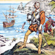 Francis Drake And The Golden Hind Print by Ron Embleton