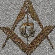 Freemason Coin Mosaic Print by Paul Van Scott