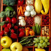 Fruits And Vegetables In Compartments Print by Garry Gay