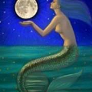 Full Moon Mermaid Print by Sue Halstenberg