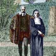 Galileo And His Daughter Maria Celeste Print by Sheila Terry