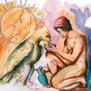 Ganymede And Zeus Print by Rene Capone