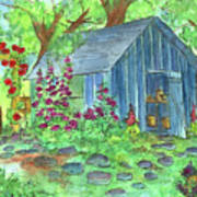 Garden Potting Shed Print by Cathie Richardson