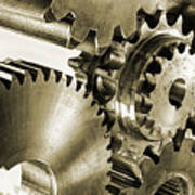 Gears And Cogwheels In Antique Look Print by Christian Lagereek