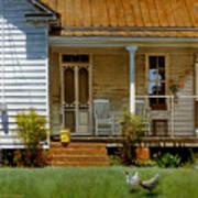 Geraniums On A Country Porch Print by Doug Strickland