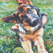 German Shepherd Pup With Ball Print by Lee Ann Shepard