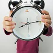 Girl Holding Alarm Clock Over Face Print by Sami Sarkis