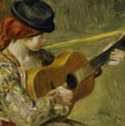 Girl With A Guitar Print by Pierre Auguste Renoir