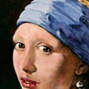 Girl With A Pearl Earring A Reproduction Of Vermeer Print by Joan Garcia