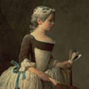 Girl With Racket And Shuttlecock Print by Jean-Baptiste Simeon Chardin