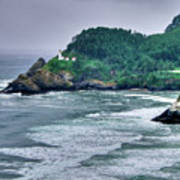 Gloomy Heceta Lighthouse  Print by Connie Cooper-Edwards