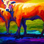 Golden Beauty - Cow And Calf Print by Marion Rose