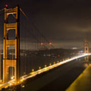 Golden Gate At Night Print by Mike Irwin