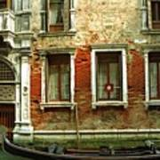 Gondola In Front Of House In Venice Print by Michael Henderson
