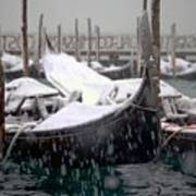Gondolas In Venice In The Snow Print by Michael Henderson