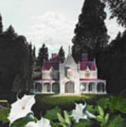 Gothic Country House Detail From Night Bridge Print by Melissa A Benson