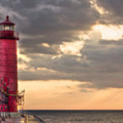 Grand Haven Lighthouse Hdr Print by Jeramie Curtice