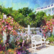 Grand Hotel Gardens Mackinac Island Michigan Print by Betsy Foster Breen