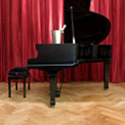 Grand Piano With A Champagne Cooler Print by Corepics