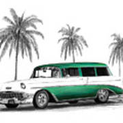 Green 56 Chevy Wagon Print by Peter Piatt