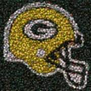 Green Bay Packers Bottle Cap Mosaic Print by Paul Van Scott