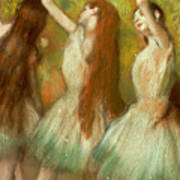 Green Dancers Print by Edgar Degas