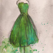 Green Strapless Dress Print by Lauren Maurer