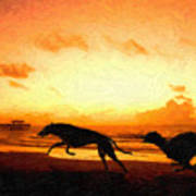 Greyhounds On Beach Print by Michael Tompsett