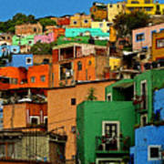 Guanajuato Hillside 1 Print by Mexicolors Art Photography