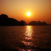Ha Long Bay Sunset Print by Oliver Johnston